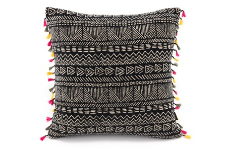 Accent Pillow-Black Mudcloth With Tassel Trim 20X20