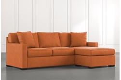 Taren II Orange Reversible Sofa/Chaise Sleeper W/Storage Ottoman