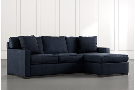 Taren II Navy Blue Reversible Sofa/Chaise Sleeper W/Storage Ottoman