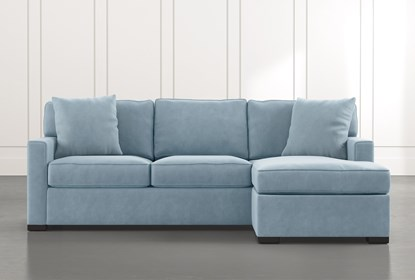 Taren II Light Blue Reversible Sofa/Chaise Sleeper W/Storage Ottoman | Living Spaces