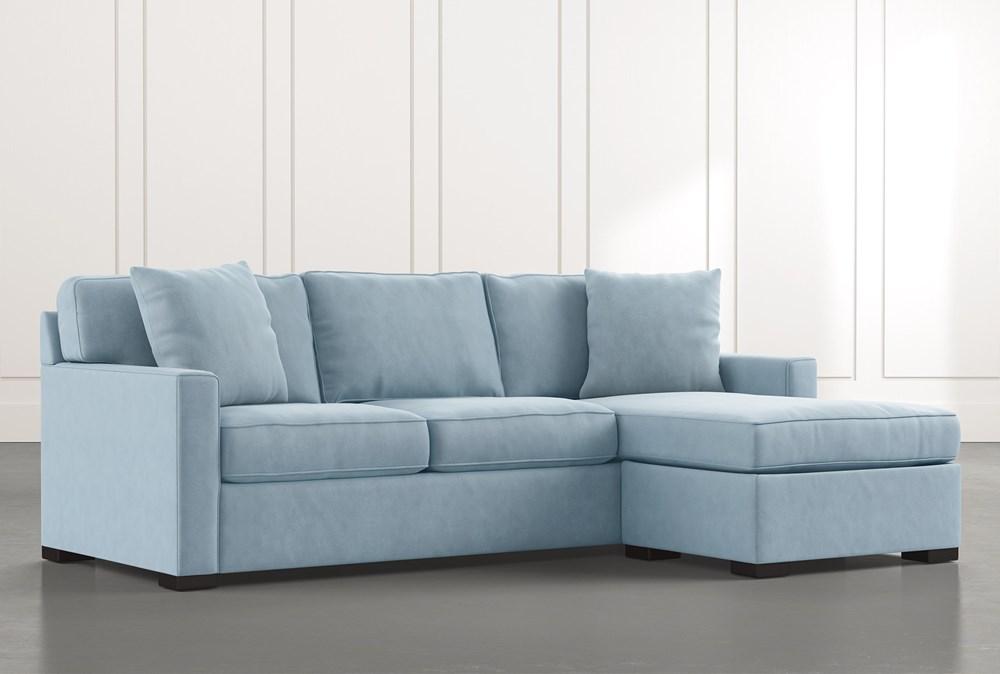 Taren Ii Light Blue Reversible Sofa, Cream Sleeper Sofa With Chaise