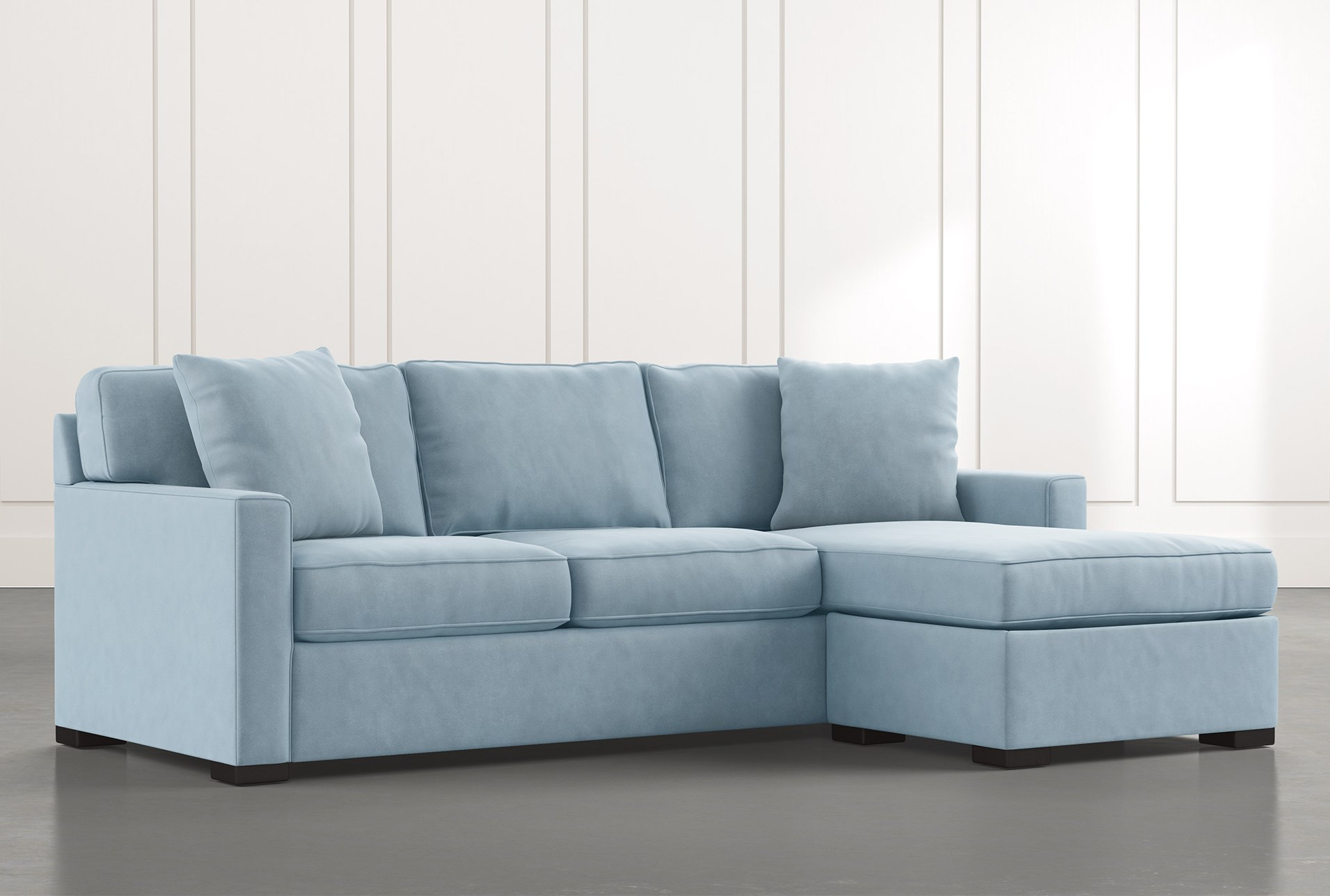 Taren II Light Blue Reversible Sofa/Chaise Sleeper W ...