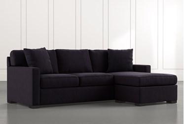 Taren II Velvet Black Reversible Sofa/Chaise Sleeper W/Storage Ottoman