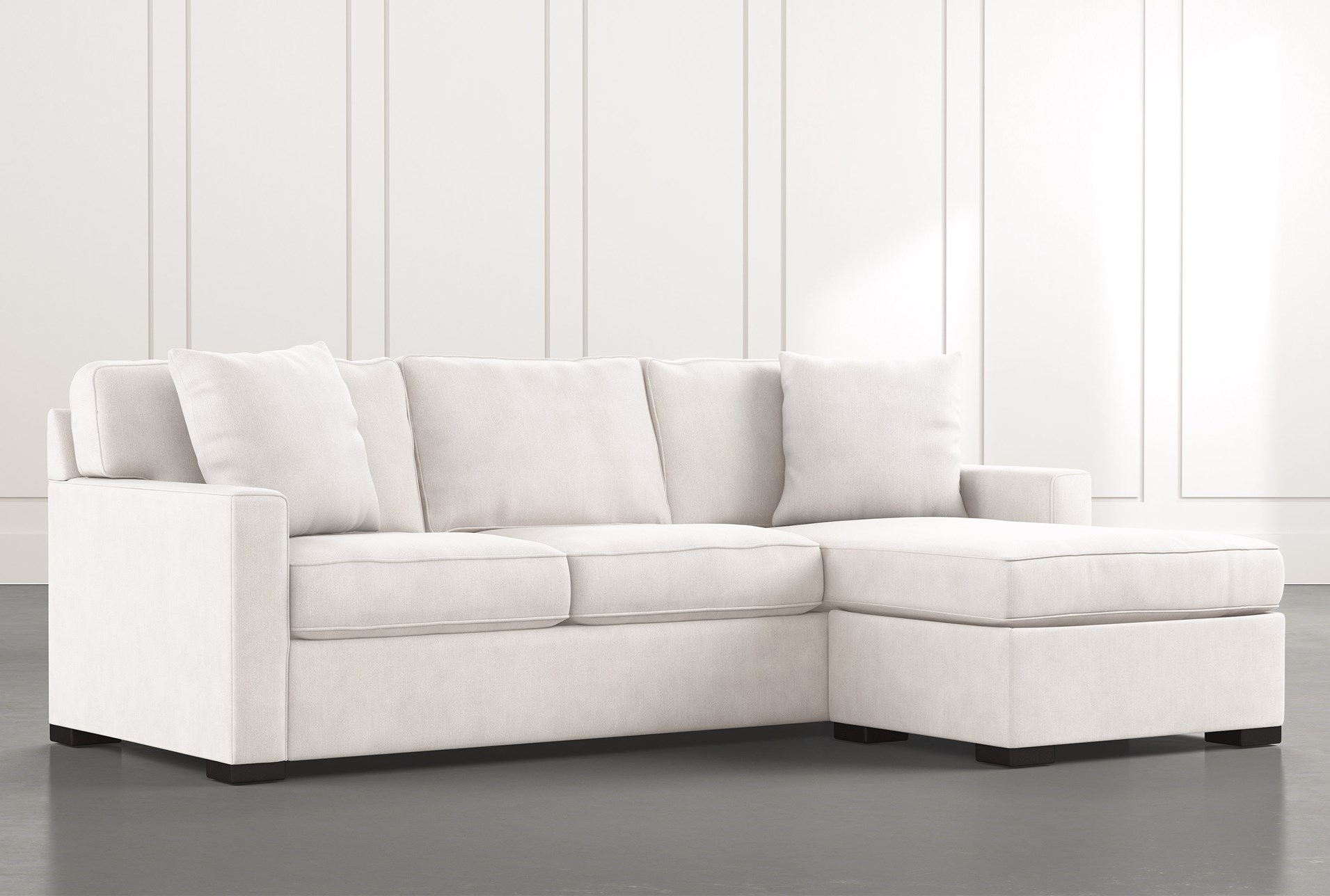 Taren II White Reversible Sofa/Chaise Sleeper W/Storage ...