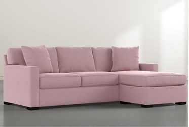 "Taren II Velvet Pink Reversible 97"" Sofa/Chaise Sleeper with Storage Ottoman"