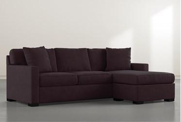 "Taren II Purple Reversible 97"" Sofa/Chaise Sleeper with Storage Ottoman"