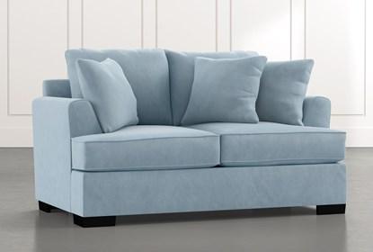 Burke Light Blue Loveseat Living Spaces