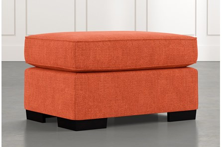 Burke Orange Ottoman