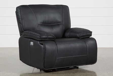 Marcus Black Power Recliner W/Pwr Headrest & Usb
