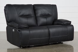 Marcus Black Power Reclining Loveseat W/Pwr Headrest & Usb