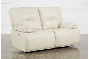 "Marcus Oyster 65"" Power Reclining Loveseat With Power Headrest & USB"