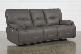Marcus Grey Power Reclining Sofa W/Pwr Headrest & Usb