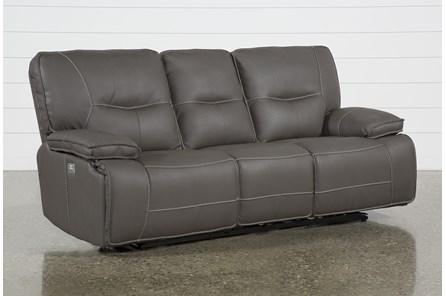 Marcus Grey Power Reclining Sofa W/Pwr Headrest & Usb - Main