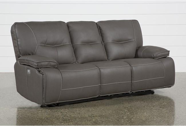 Marcus Grey Power Reclining Sofa W/Power Headrest & Usb - 360