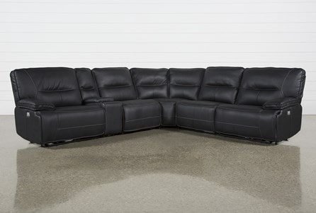 Marcus Black 6 Piece Reclining Sectional W/Pwr Headrest & Usb