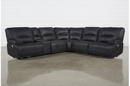 Marcus Black 6 Piece Reclining Sectional With Power Headrest & Usb