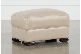 Grandin Wheat Leather Ottoman