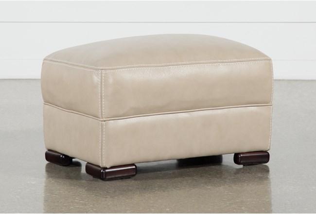 Grandin Wheat Leather Ottoman - 360