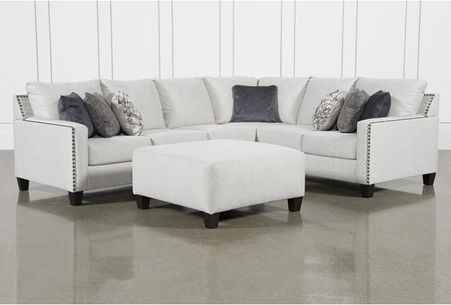 Chappell 3 Piece Sectional With Left Arm Facing Loveseat and Ottoman - 360