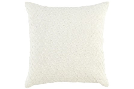 Accent Pillow-Ivory Hexagon Belgian Linen 22X22
