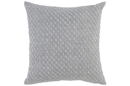 Accent Pillow-Grey Hexagon Belgian Linen 22X22 - Main