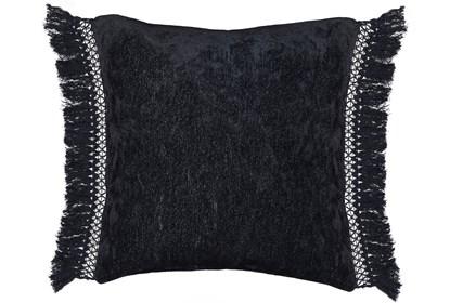 Accent Pillow Black Chenille Fringe 20x20