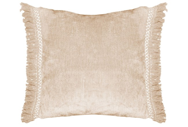 Accent Pillow-Natural Chenille Fringe 20X20 - 360