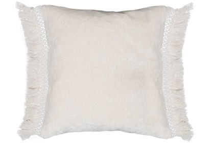 Accent Pillow Ivory Chenille Fringe 20x20