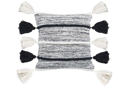 Accent Pillow-Black And Ivory Side Tassels 20X20