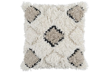 Accent Pillow-Ivory And Natural Shaggy Diamonds 20X20