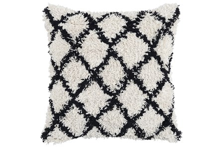 Accent Pillow-Black And Ivory Shaggy Diamonds 22X22