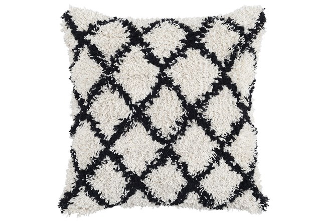 Accent Pillow-Black And Ivory Shaggy Diamonds 22X22 - 360