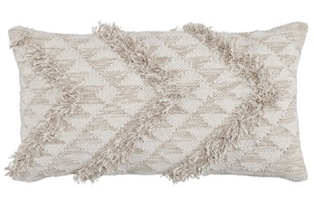 Accent Pillow-Natural And Ivory Side Chevron 14X26