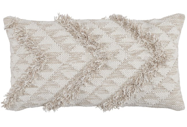 Accent Pillow-Natural And Ivory Side Chevron 14X26 - 360