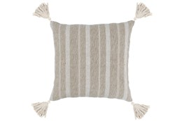 Accent Pillow-Natural Stripe Tassels 22X22