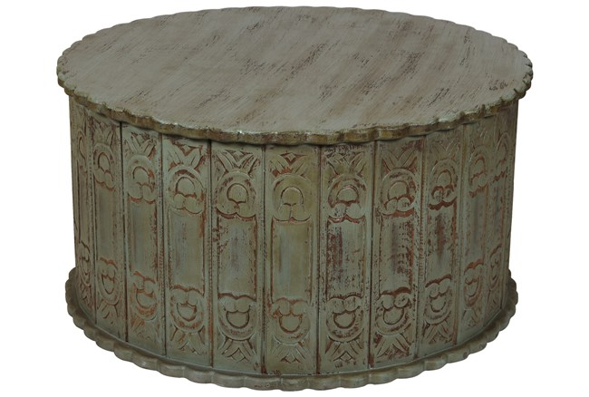 Distressed Teal Coffee Table - 360