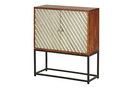 SILVER METAL MIX 2 DOOR CABINET