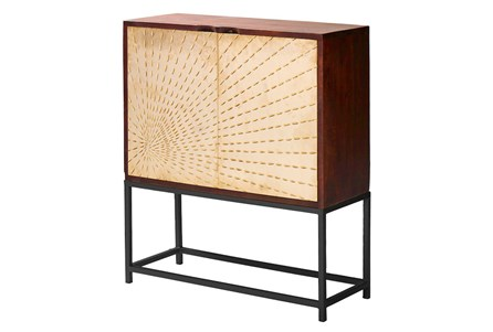 OTB BRASS STARBURST 2 DOOR CABINET ON STAND