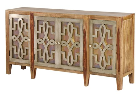 OTB ANTIQUE NICKEL + WOOD 4 DOOR SIDEBOARD