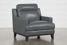 Kathleen Dark Grey Leather Chair