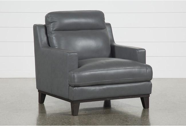 Kathleen Dark Grey Leather Chair - 360