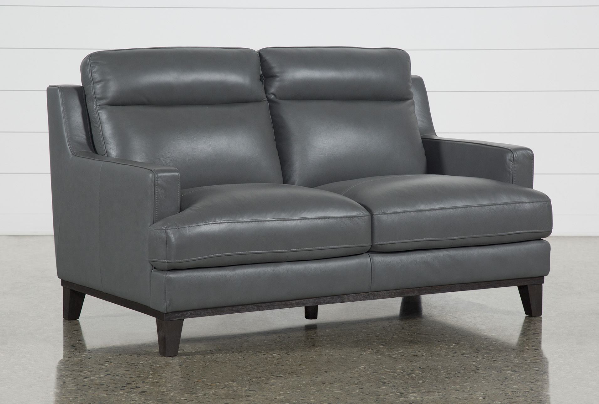 Picture of: Kathleen Dark Grey Leather 64 Loveseat Living Spaces