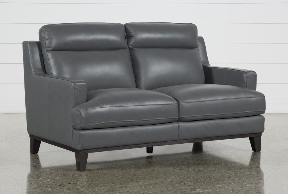 "Kathleen Dark Grey Leather 64"" Loveseat"