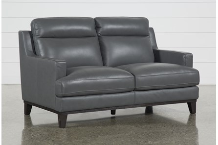 Kathleen Dark Grey Leather Loveseat