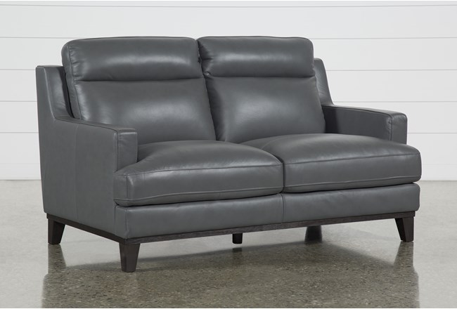 "Kathleen Dark Grey Leather 64"" Loveseat - 360"