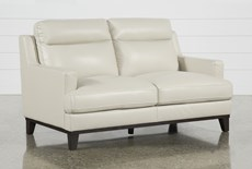 "Kathleen Cream Leather 64"" Loveseat"