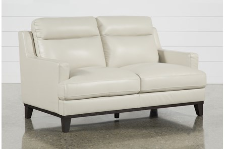 Kathleen Cream Leather Loveseat