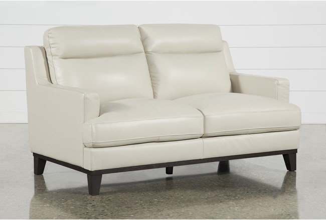 "Kathleen Cream Leather 64"" Loveseat - 360"