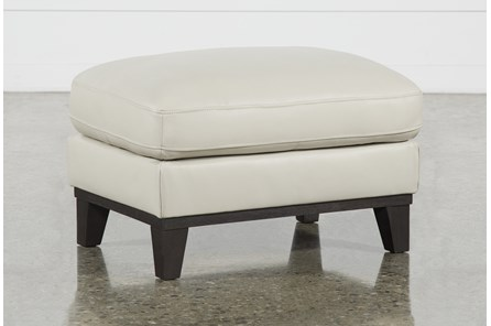 Kathleen Cream Leather Ottoman