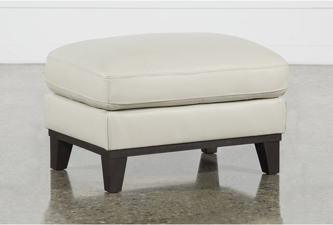 Kathleen Cream Leather Ottoman - 360